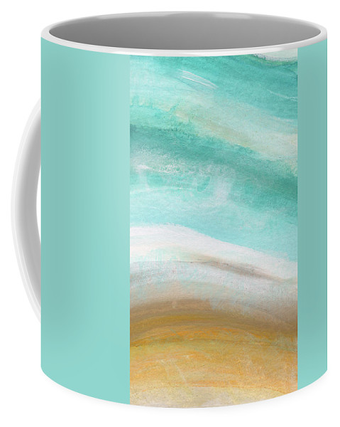 Beach Coffee Mug featuring the painting Sand And Saltwater- Abstract Art By Linda Woods by Linda Woods