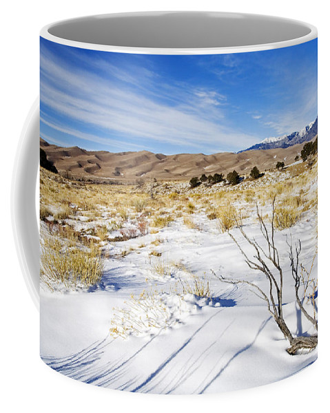 Snow Coffee Mug featuring the photograph Sand And Snow by Mike Dawson
