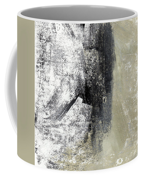 Grey Abstract Coffee Mug featuring the painting Sand And Steel- Abstract Art by Linda Woods