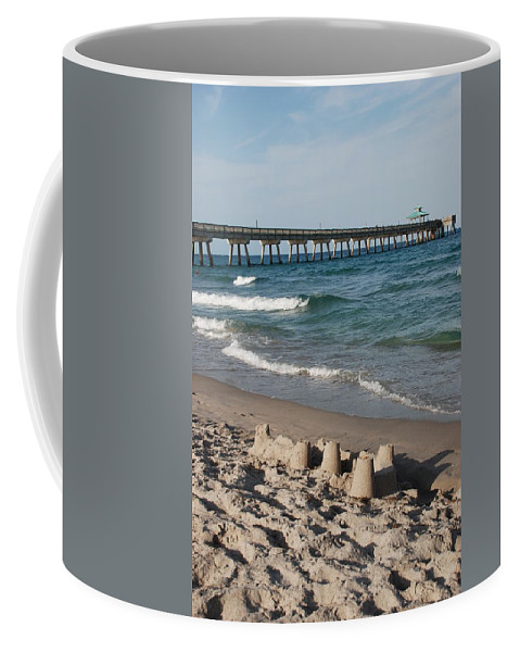 Sea Scape Coffee Mug featuring the photograph Sand Castles And Piers by Rob Hans