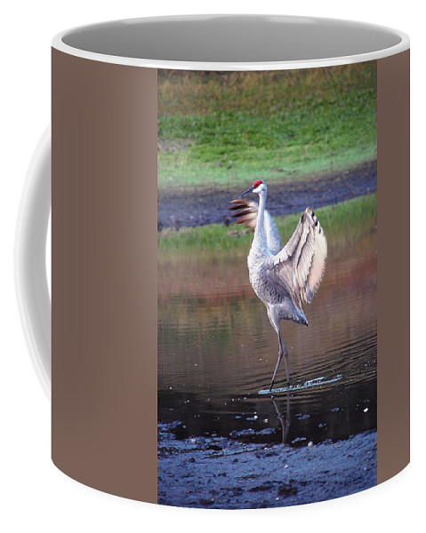 Sandhill Coffee Mug featuring the digital art Sandhill Crane Painted by Robert Meanor