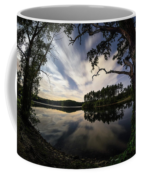 Sandra Sandra's Pond Reservoir Westboro Westborough Ma Mass Massachusetts Newengland New England U.s.a. Usa Water Lake Outside Outdoors Nature Serene Sky Clouds Stars Reflection Brian Hale Brianhalephoto Coffee Mug featuring the photograph Sandra Pond At Night by Brian Hale