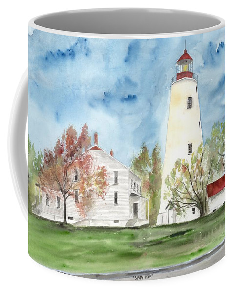 Watercolor Coffee Mug featuring the painting Sandy Hook Lighthouse by Derek Mccrea