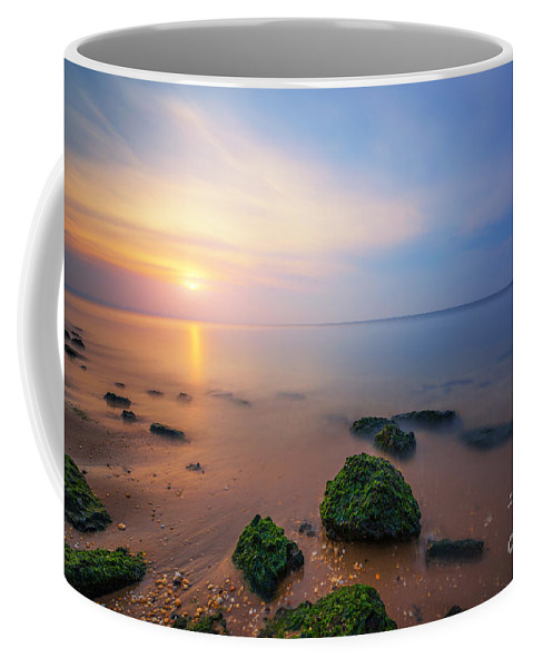 Low Tide Sunset Coffee Mug featuring the photograph Sandy Hook New Jersey Sunset by Michael Ver Sprill
