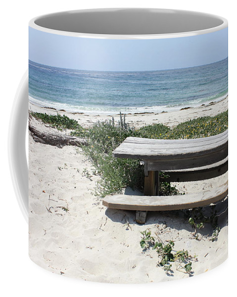 Picnic Table Coffee Mug featuring the photograph Sandy Picnic Table by Carol Groenen