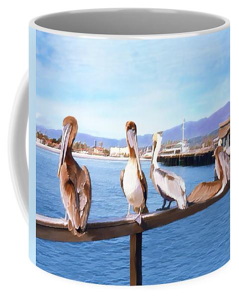 Harbor Coffee Mug featuring the photograph Santa Barbara Pelicans by Kurt Van Wagner