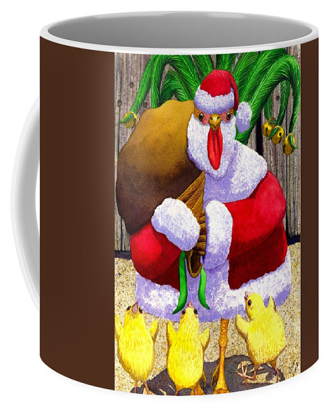 Christmas Coffee Mug featuring the painting Santa Chicken by Catherine G McElroy