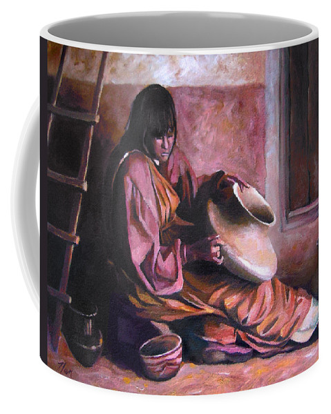 Native American Coffee Mug featuring the painting Santa Clara Potter by Nancy Griswold