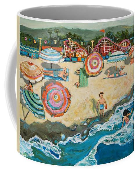 Beach Coffee Mug featuring the painting Santa Cruz Beach Boardwalk by Jen Norton