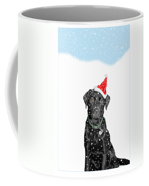 Christmas Coffee Mug featuring the photograph Santa Dog In The Snow by Mal Bray