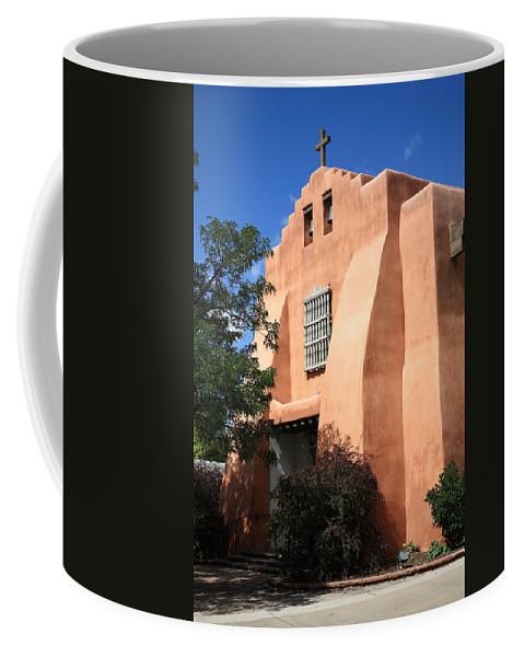 Adobe Coffee Mug featuring the photograph Santa Fe - Adobe Church by Frank Romeo