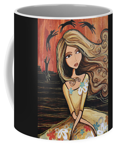 Mixed Media Coffee Mug featuring the painting Santa Fe Dreams by Debbie Horton