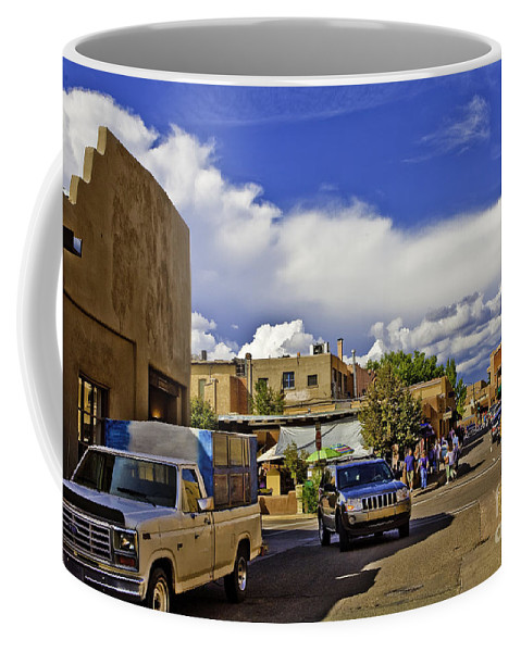 Santa Fe Coffee Mug featuring the photograph Santa Fe Plaza 2 by Madeline Ellis
