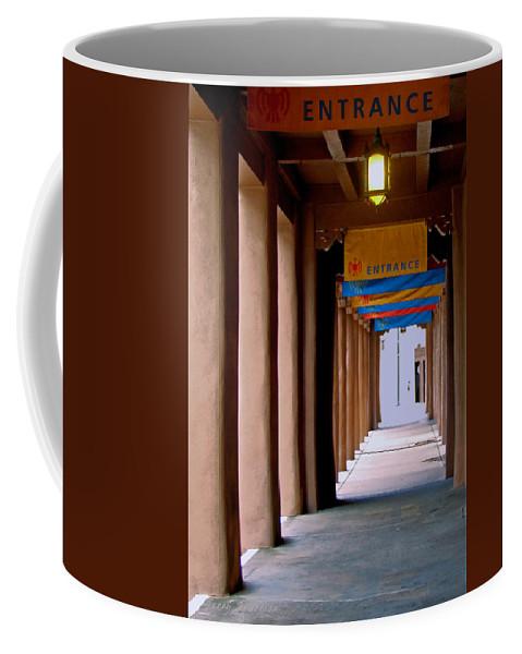 Santa Fe Coffee Mug featuring the photograph Santa Fe Sidewalk by Terry Anderson