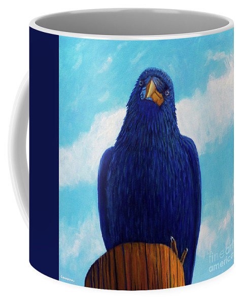 Raven Coffee Mug featuring the painting Santa Fe Smile by Brian Commerford