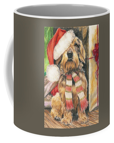 Hound Group Coffee Mug featuring the drawing Santas Little Yelper by Barbara Keith