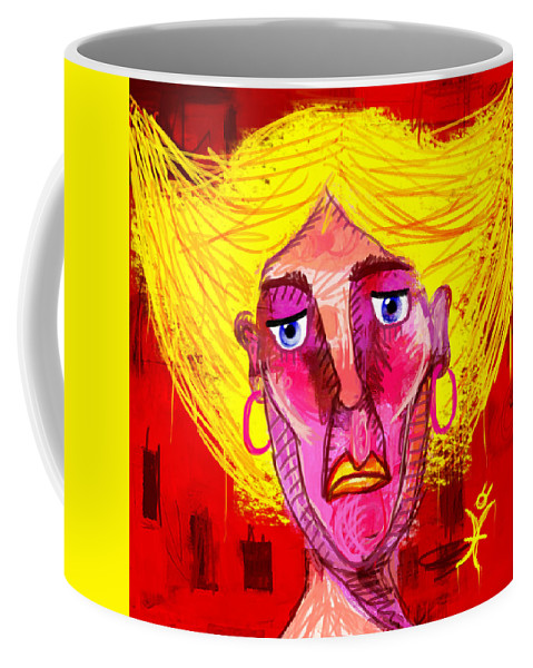 Woman Coffee Mug featuring the painting Santia Sour Face 1060 by Maciej Mackiewicz