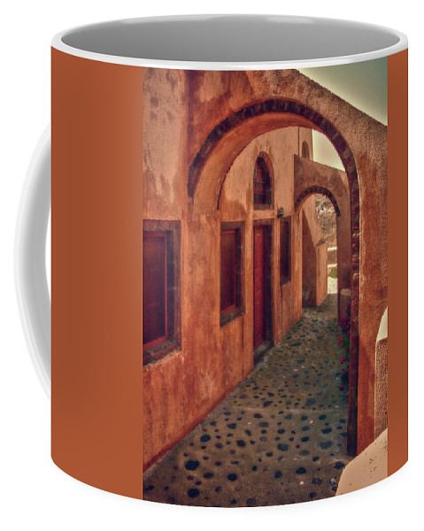 Hdr Coffee Mug featuring the photograph Santorini Courtyard by Sandra Bronstein
