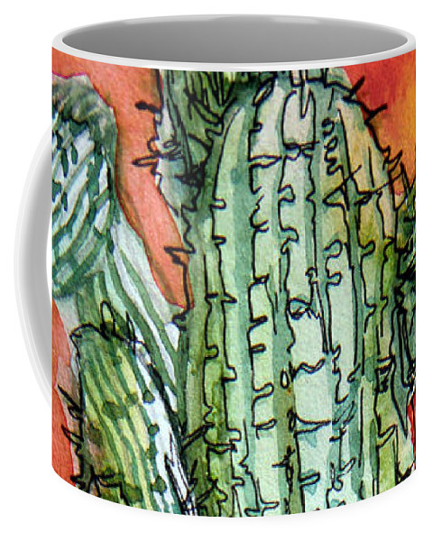 Cactus Coffee Mug featuring the painting Saquaros by Mindy Newman