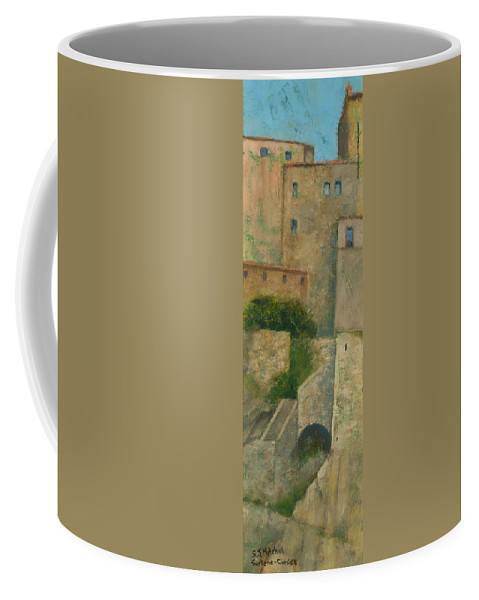 Painting Coffee Mug featuring the painting Sartene Corsica by Steve Mitchell