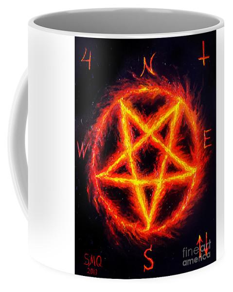 Coffee PentagramHail 666 Mug Satanic Fire SpMUzV