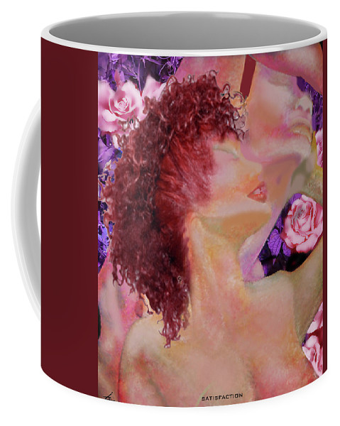 Lovers Coffee Mug featuring the painting Satisfaction by Larry Rice