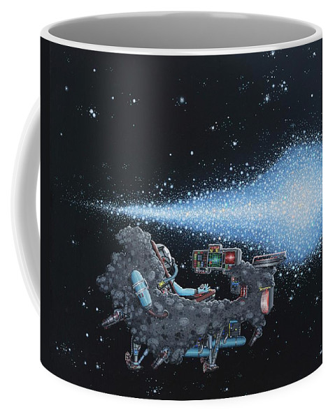 Surreal Spacescape Coffee Mug featuring the painting Saturday Night by Jon Carroll Otterson