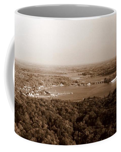 Saugatuck Coffee Mug featuring the photograph Saugatuck Michigan Harbor Aerial Photograph by Michelle Calkins