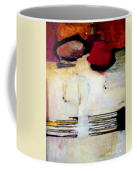 Abstract Coffee Mug featuring the mixed media Sausalito Leap Of Faith by Marlene Burns