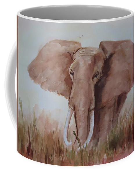 African Elephant Coffee Mug featuring the painting Savannah Queen by Charme Curtin