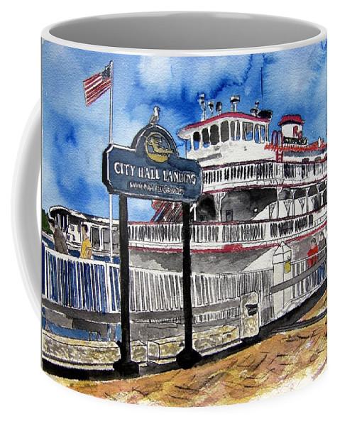 Savannah Coffee Mug featuring the painting Savannah River Queen Boat Georgia by Derek Mccrea