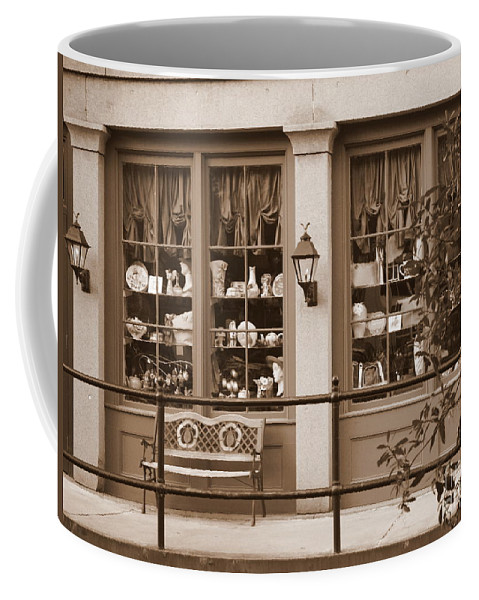 Savannah Coffee Mug featuring the photograph Savannah Sepia - Antique Shop by Carol Groenen