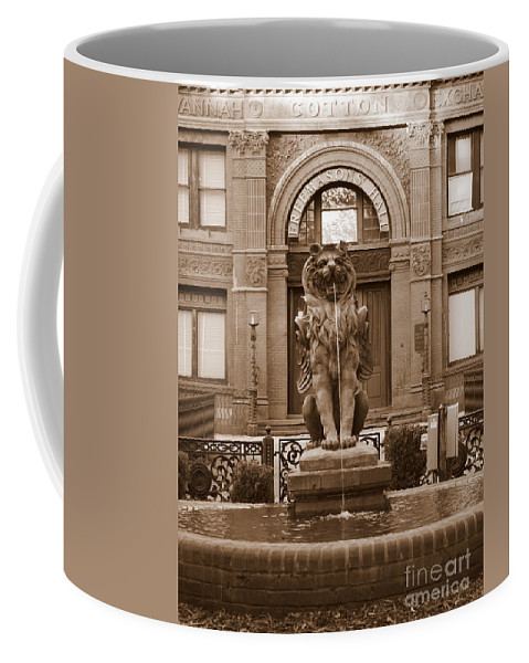 Savannah Coffee Mug featuring the photograph Savannah Sepia - Cotton Exchange Building by Carol Groenen