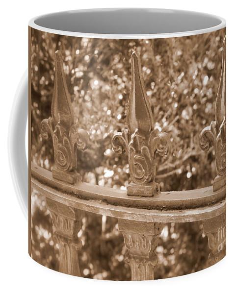 Savannah Coffee Mug featuring the photograph Savannah Sepia - Finials by Carol Groenen