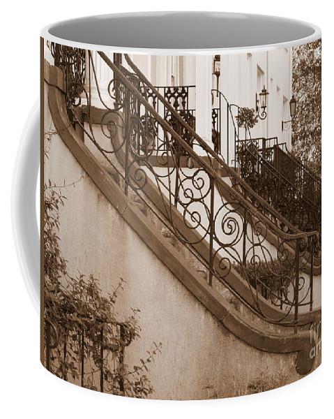 Savannah Coffee Mug featuring the photograph Savannah Sepia - Stoops by Carol Groenen