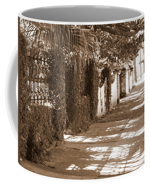 Savannah Coffee Mug featuring the photograph Savannah Sepia - Sunny Sidewalk by Carol Groenen