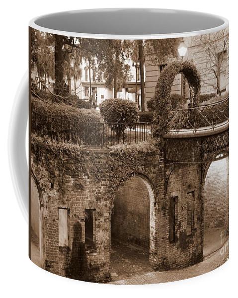 Savannah Coffee Mug featuring the photograph Savannah Sepia - River Walk by Carol Groenen