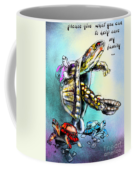 Turtle Painting Coffee Mug featuring the digital art Save My Family by Miki De Goodaboom