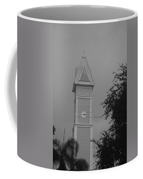 Black And White Coffee Mug featuring the photograph Save The Clock Tower by Rob Hans