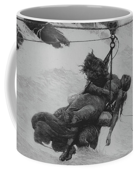 Saved Coffee Mug featuring the drawing Saved, 1889 by Winslow Homer