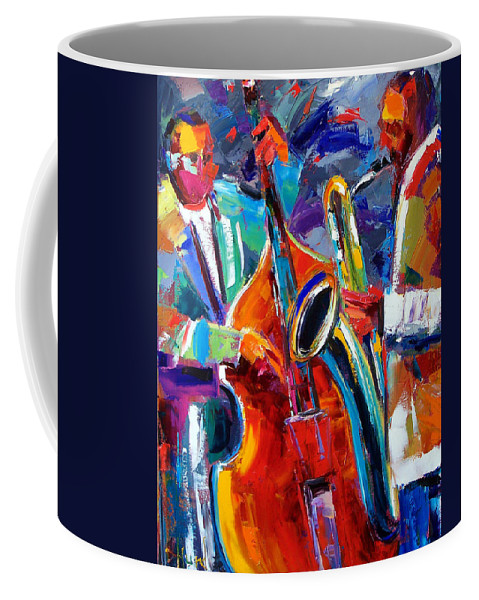 Jazz Painting Coffee Mug featuring the painting Sax And Bass by Debra Hurd