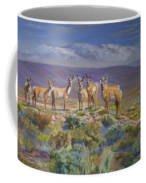 Antelope Coffee Mug featuring the painting Say Cheese Antelope by Heather Coen