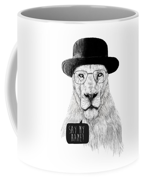 Lion Coffee Mug featuring the mixed media Say my name by Balazs Solti