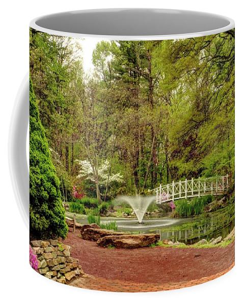 Recent Coffee Mug featuring the photograph Sayen Gardens Bridge Series by Geraldine Scull