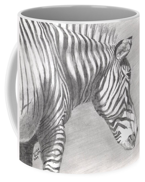 Zebra Coffee Mug featuring the drawing Scanning The Horizon by Andrew Gillette