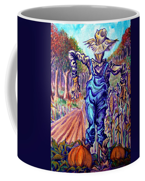 Scarecrow Coffee Mug featuring the painting Scarecrow by Kevin Middleton