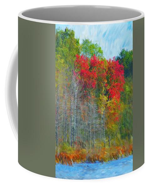 Landscape Coffee Mug featuring the digital art Scarlet Autumn Burst by David Lane