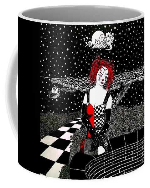 Black And White Coffee Mug featuring the drawing Scarlet Checkers by Red Gevhere
