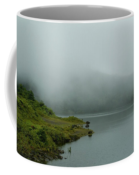 Roseau Coffee Mug featuring the photograph Scattered Fog On A Lake In A Caribbean by Todd Gipstein