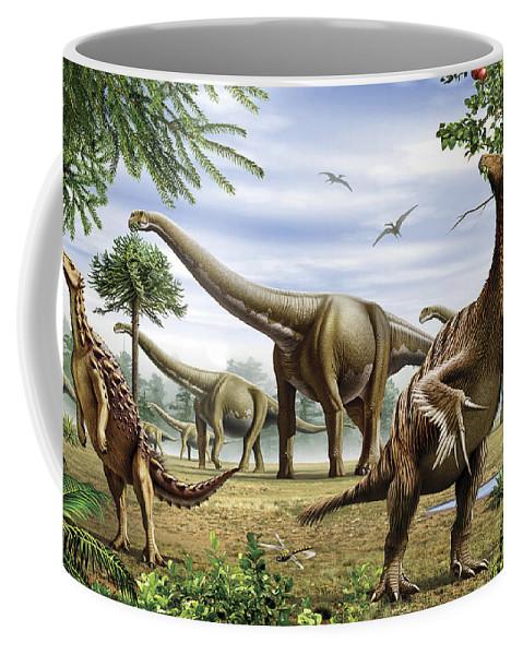 Herbivore Coffee Mug featuring the digital art Scelidosaurus, Nothronychus by Mohamad Haghani